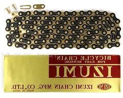 Izumi Jet Black Gold 1/2 x 1/8 116L BMX Track Fixed Gear Sin