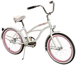 Micargi Jetta Beach Cruiser Bicycle, White, 20-Feet