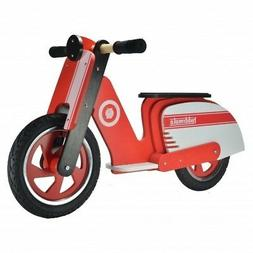 Kiddimoto Kids Red Scooter Wooden Balance Bike Scooter, Ages