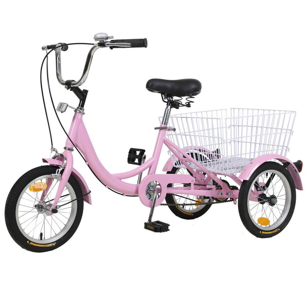 14 inch 3-Wheel Tricycle Bicycle pink w/Shopping&Pet Baske For