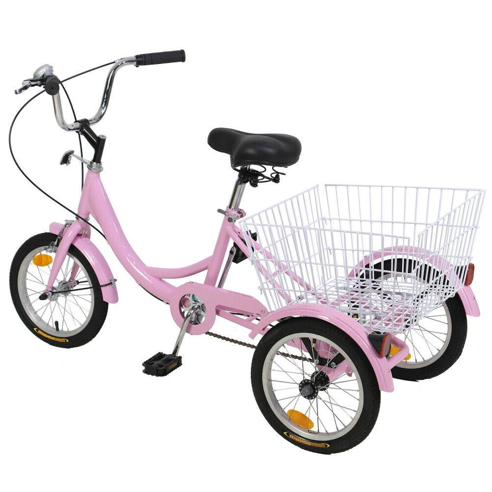 14 Tricycle Bicycle pink w/Shopping&Pet Baske For 6-12year