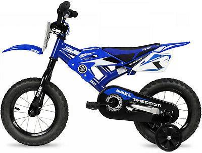 "16/"" BMX Moto Yamaha Boys Bike Blue Steel Frame Kids Bicycle Motocross Style"