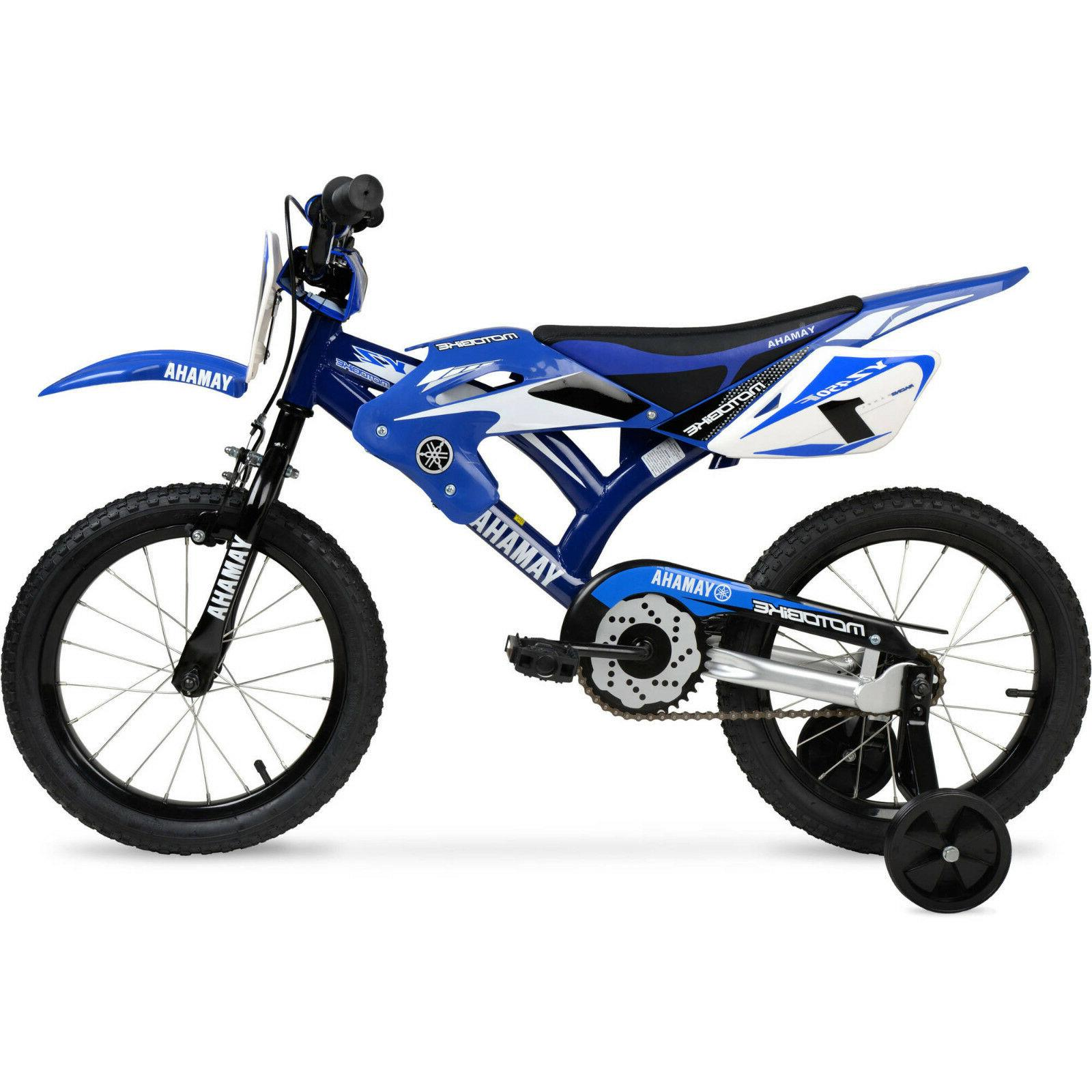 "16/"" Yamaha Moto Kids BMX Bike Bicycle Blue Look Motorcycle Training Wheels Boys"