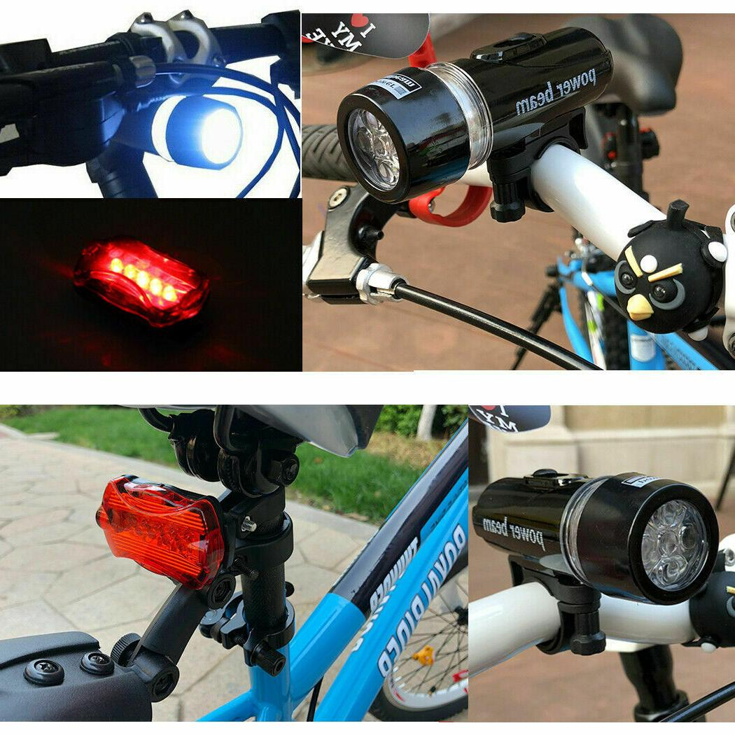 2 LED Front Head Light+Rear Safety Flashlight