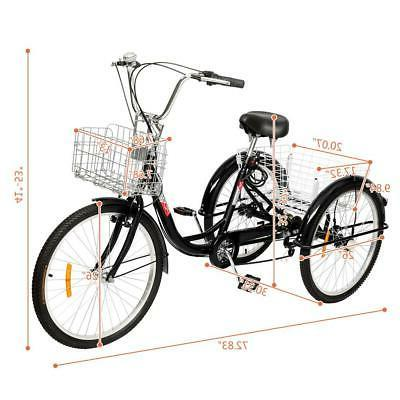 """20""""/24""""/26"""" 1/7 Speed Trike Tricycle 3-Wheel Bicycle Shopping New"""