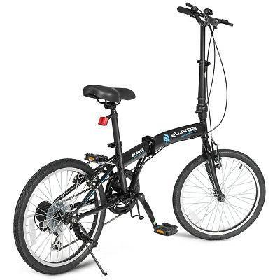 "20"" 7-Speed Folding Bicycle Bike Adult Kids Lightweight Iron"