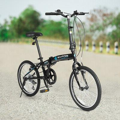 "20"" Folding Bike Adult Kids Lightweight Iron Frame Dual"