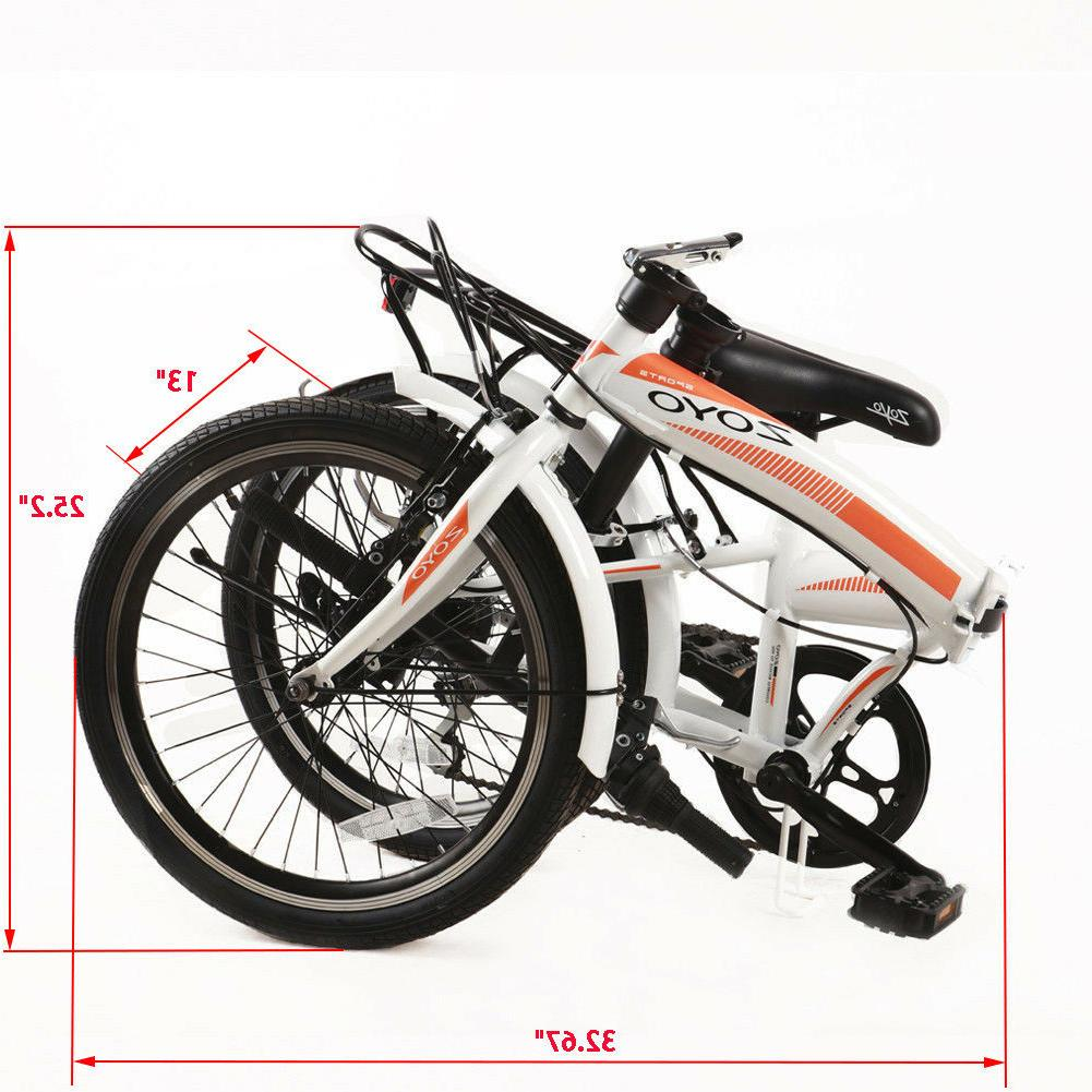 20'' Folding Bicycle Kids Adult Shimano 7 Speeds Hybrid