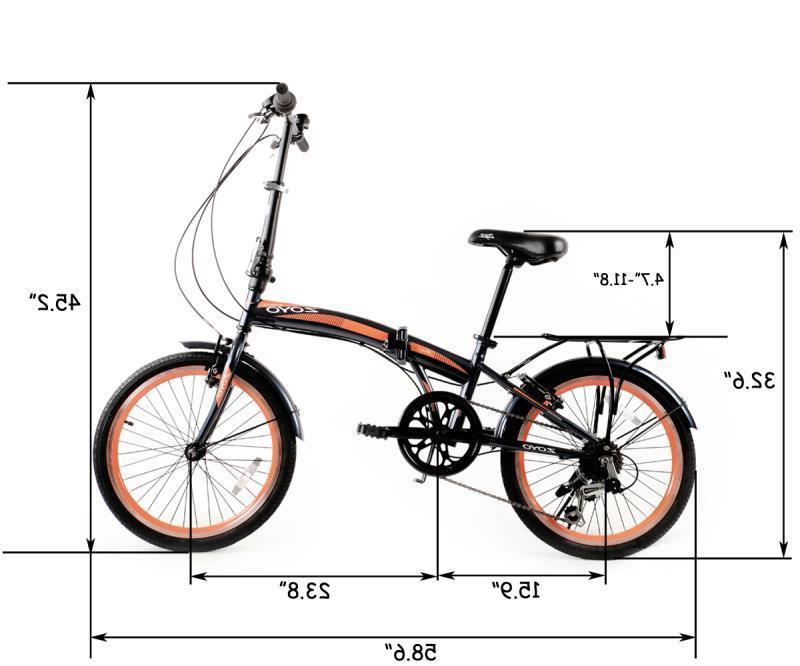 20'' Folding Bicycle Kids 7 Speeds Gear Hybrid