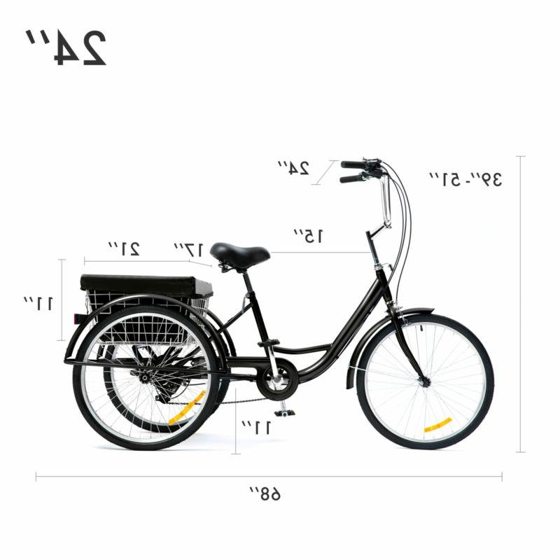 24 Inch Trike Speed Adult Tricycle 3-Wheel Shopping