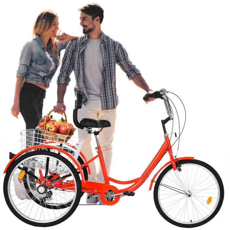 "24"" 7 Speed Adult Trike Tricycle Cruise 3-Wheel Bike w/Large"