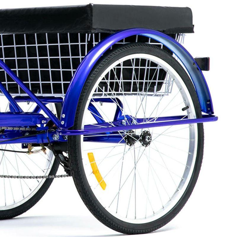 24 Inch Speed Adult Blue Bike w/Basket Shopping