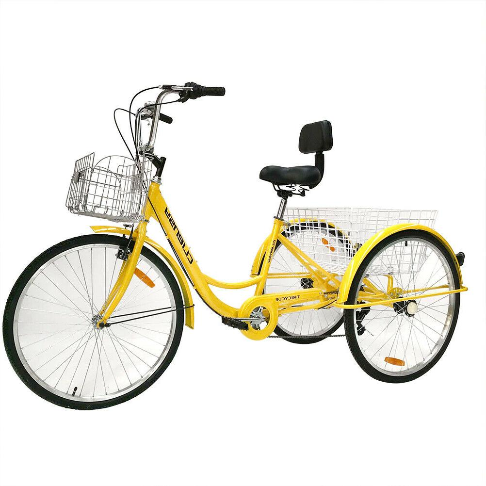 "26"" 3-Wheel Tricycle Trike Bike Cruise Double"