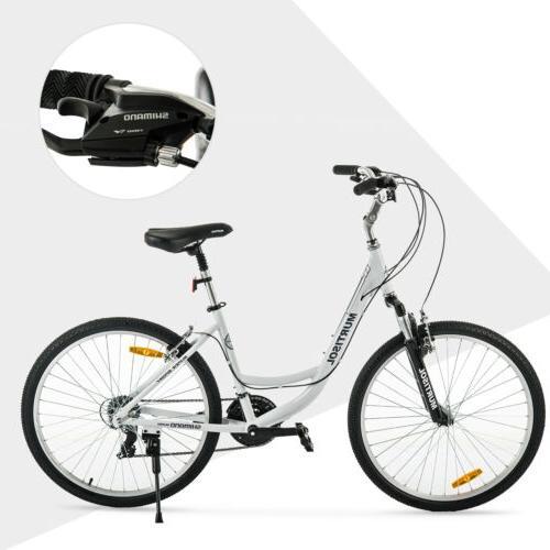 """26"""" Women Road Bike 21 Speeds Shimano Bicycle Suspension White"""
