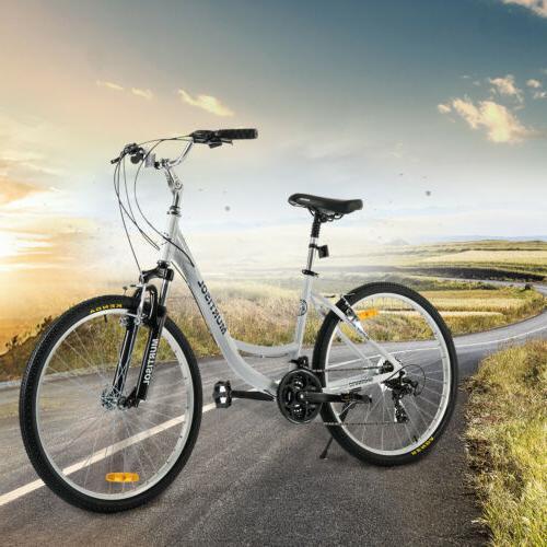 "26"" Aluminum Women Road Bike Speeds Bicycle Suspension"