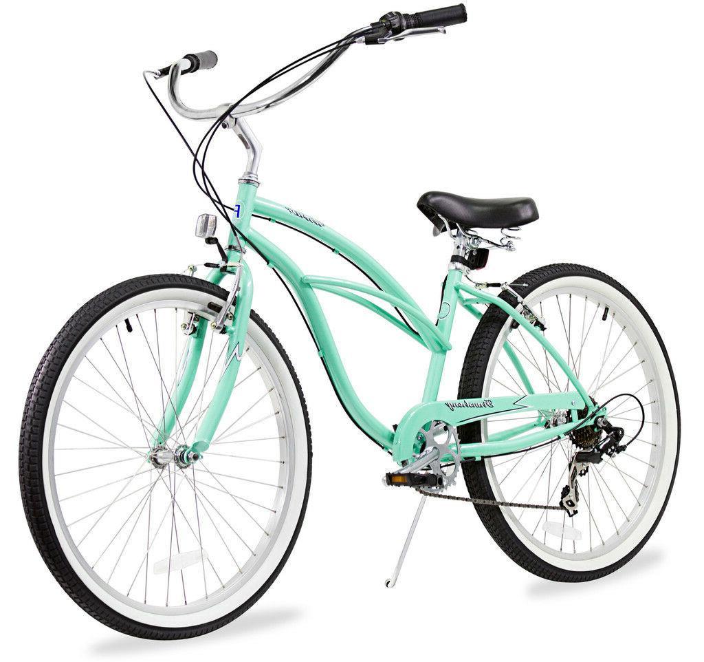 "24"" Beach Cruiser Bicycle Firmstrong Urban 7 speed Green"