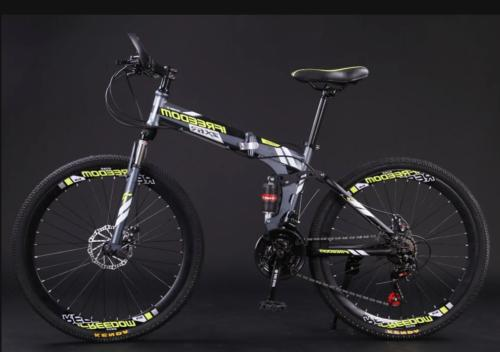 "26"" Folding Mountain Bike 21 Speed Full Suspension Bicycle C"