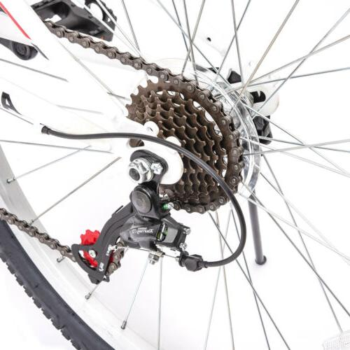 "26"" Folding Mountain Bike 7 Bicycle Suspension Fork Sports White"