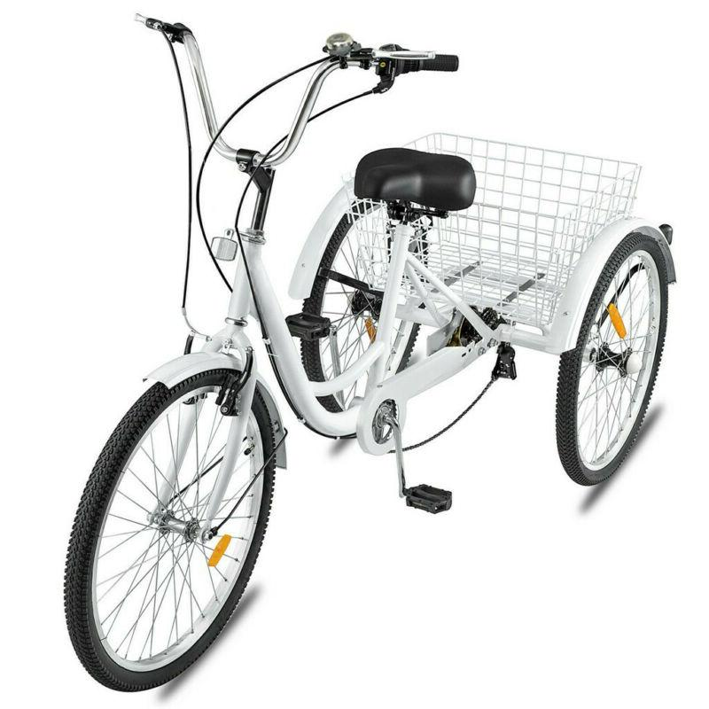 Adult Tricycle 24'' 7-Speed 3 Wheel White Trike Shopping