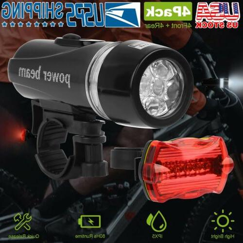 2 x 5 LED Lamp Waterproof Bike Bicycle Front Head Light + Re