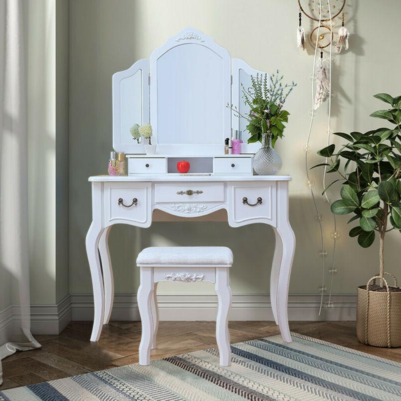 5 Mirrors Makeup Dressing Table Set w/Stool Desk