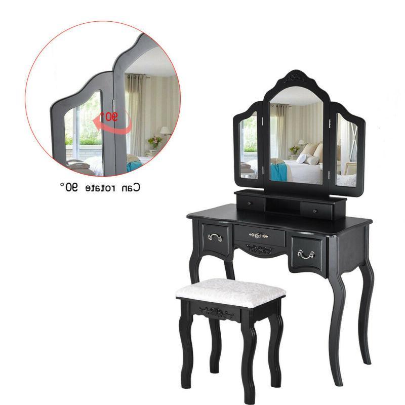 Vanity Makeup Dressing Desk 3 Folding 5