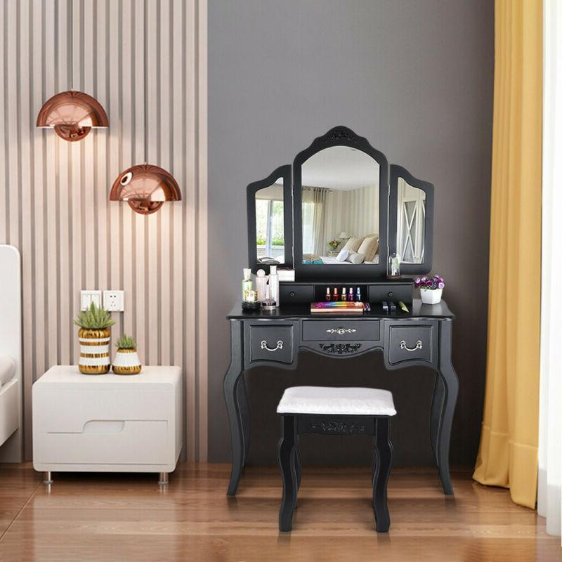 Vanity Desk Wood w/Stool, 3 5 Drawers