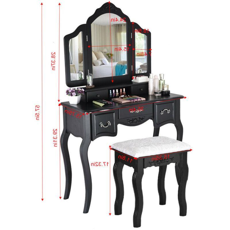 Vanity Table Desk Wood 3 5