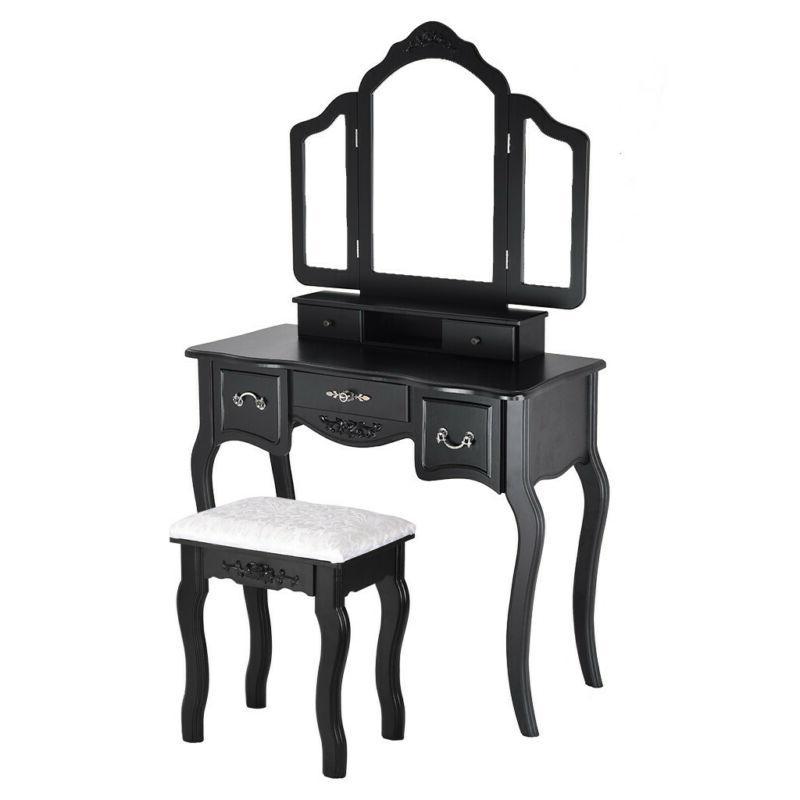Vanity Table Desk 3 Folding Mirror 5 Drawers