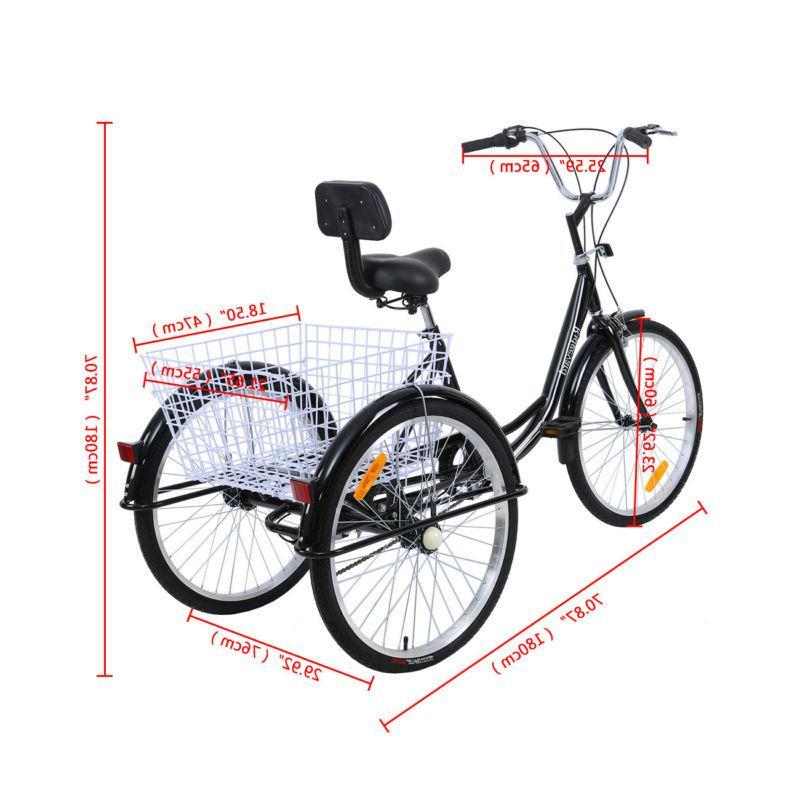 """7-Speed 24""""/26"""" 3-Wheel Tricycle Trike Cruise Basket Seat"""