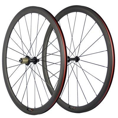 700C 38mm Clincher Carbon Wheelset Road Bike Wheels HandBuil