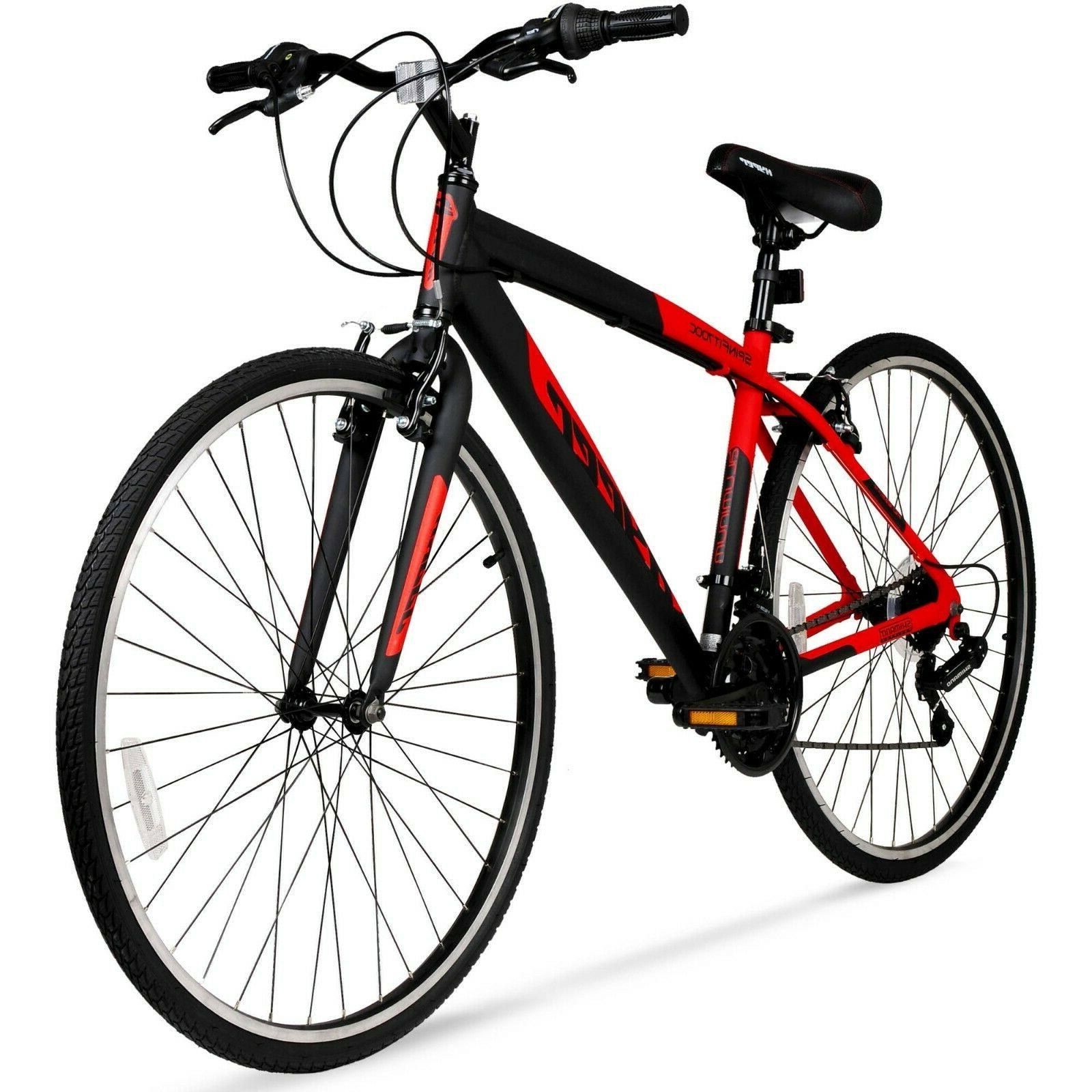 700c Hyper SpinFit Men's Hybrid Bike Red Bicycle Shimano 21