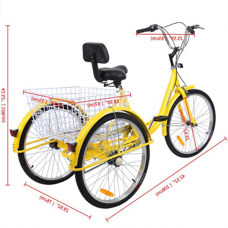 "Adult 24"" 3-Wheel 7-Speed Trike Bike Cruise With"