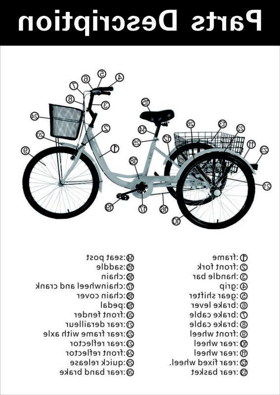 "Black 24"" Tricycle Trike Cruise"
