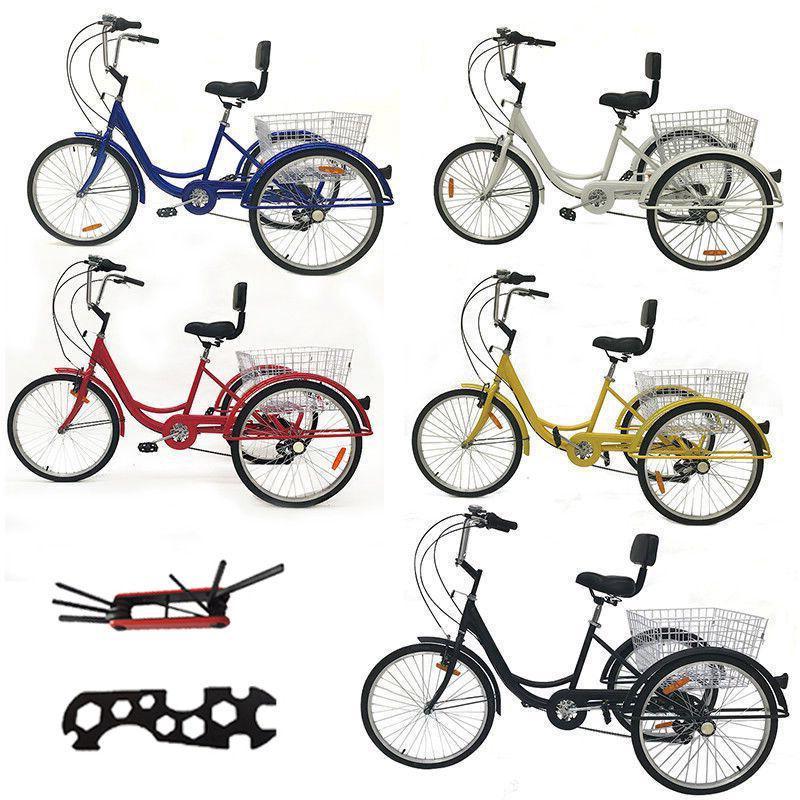 "Shimano 7-Speed 24"" Adult 3Wheel Tricycle Bike Cruise Bike B"