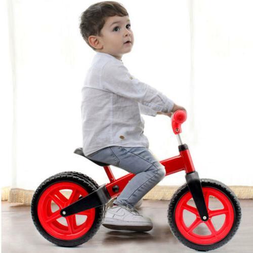 12'' Red Balance Bike Kids No-Pedal Adjustable Seat 3 Wheels