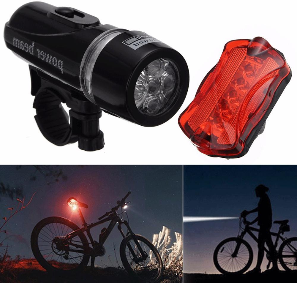 Bike Bicycle Light 5 LED Safety + Front FLASHLIGHT Lamp
