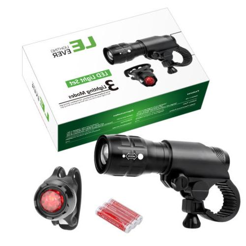 LED Lamp Cycling Bike Bicycle Front Head Light + Rear Safety