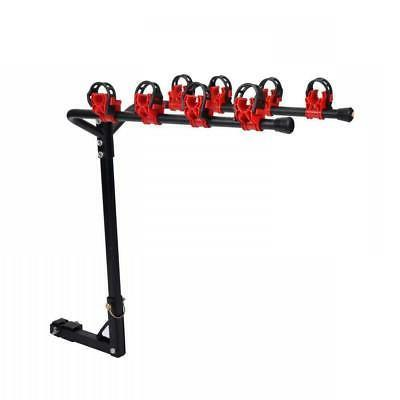 """New 4 Bicycle Bike Rack 1-1/4""""+ 2"""" Hitch Mount Carrier Car T"""