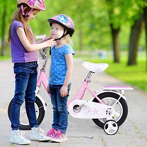 """Goplus Bike w/Training Wheels and Basket, 12"""" 16"""" Boy's Kids Bike"""