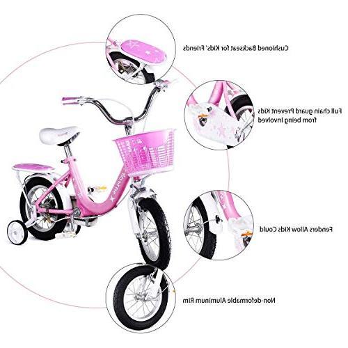 "Goplus Kids Bike Wheels and Basket, 16"" Girl's Bicycle, Gift Kids Balance Bike"