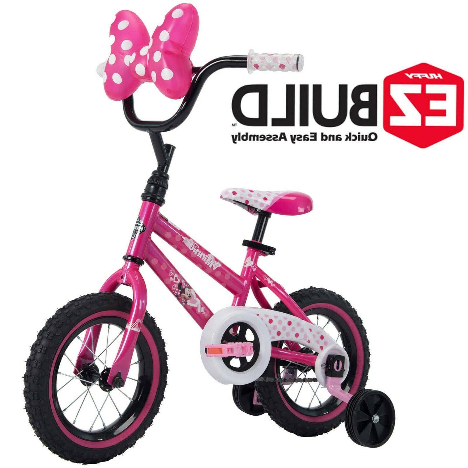 "Disney Minnie 12"" Girls' EZ Build Pink Bike, with wide t"