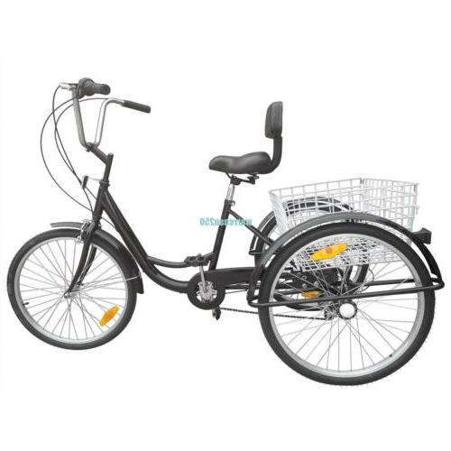 "Black 24"" Tricycle Bicycle Trike Cruise"