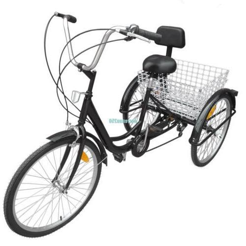 """Black 6-Speed 24"""" Bicycle Trike"""