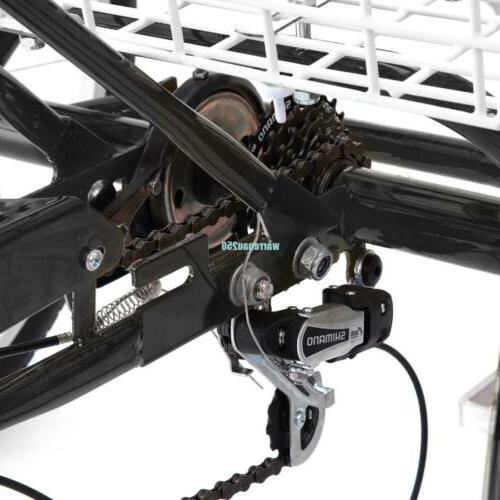 """Black 3-Wheel Adult 24"""" Tricycle Bicycle Trike W/"""