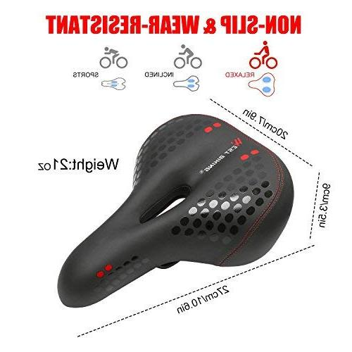 West Biking Bike Seat, Cushion Dual Designed Memory Foam Life Waterproof Taillight,Comfortable, Safety Most Women