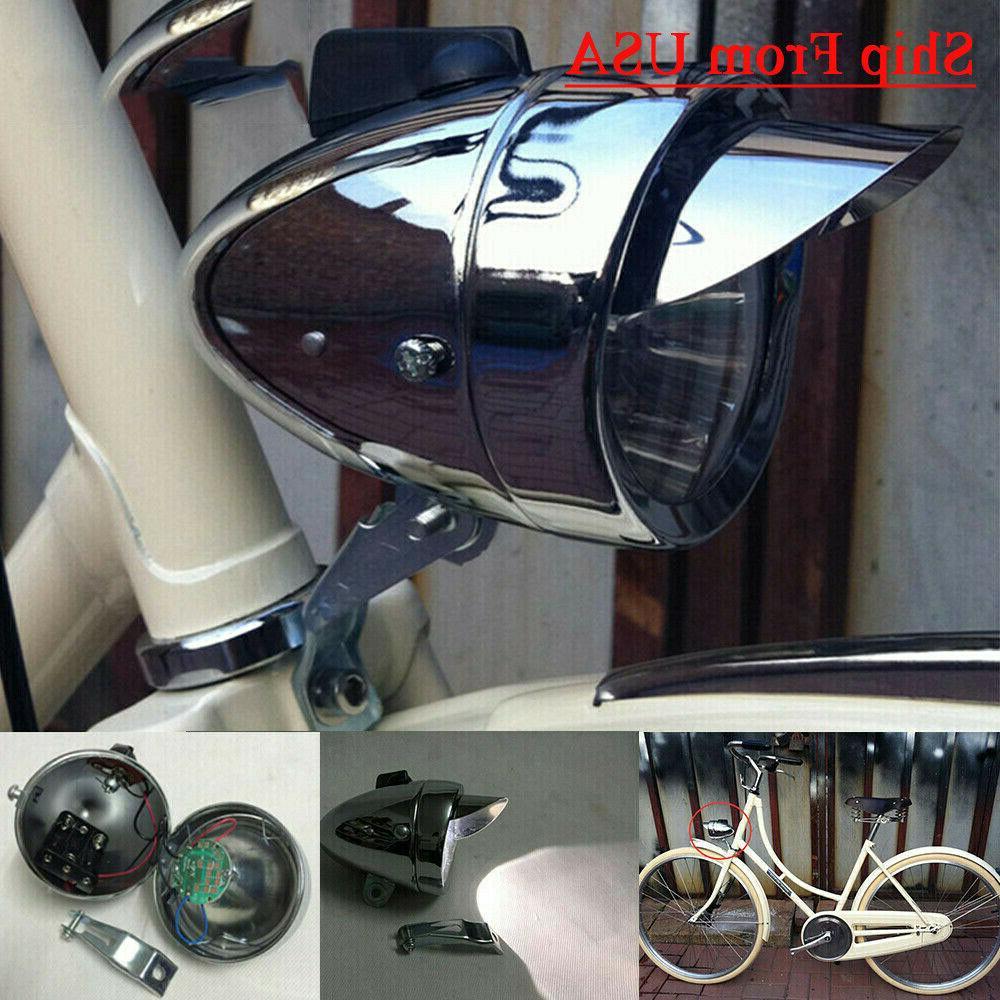 classical chrome vintage bicycle bike led light