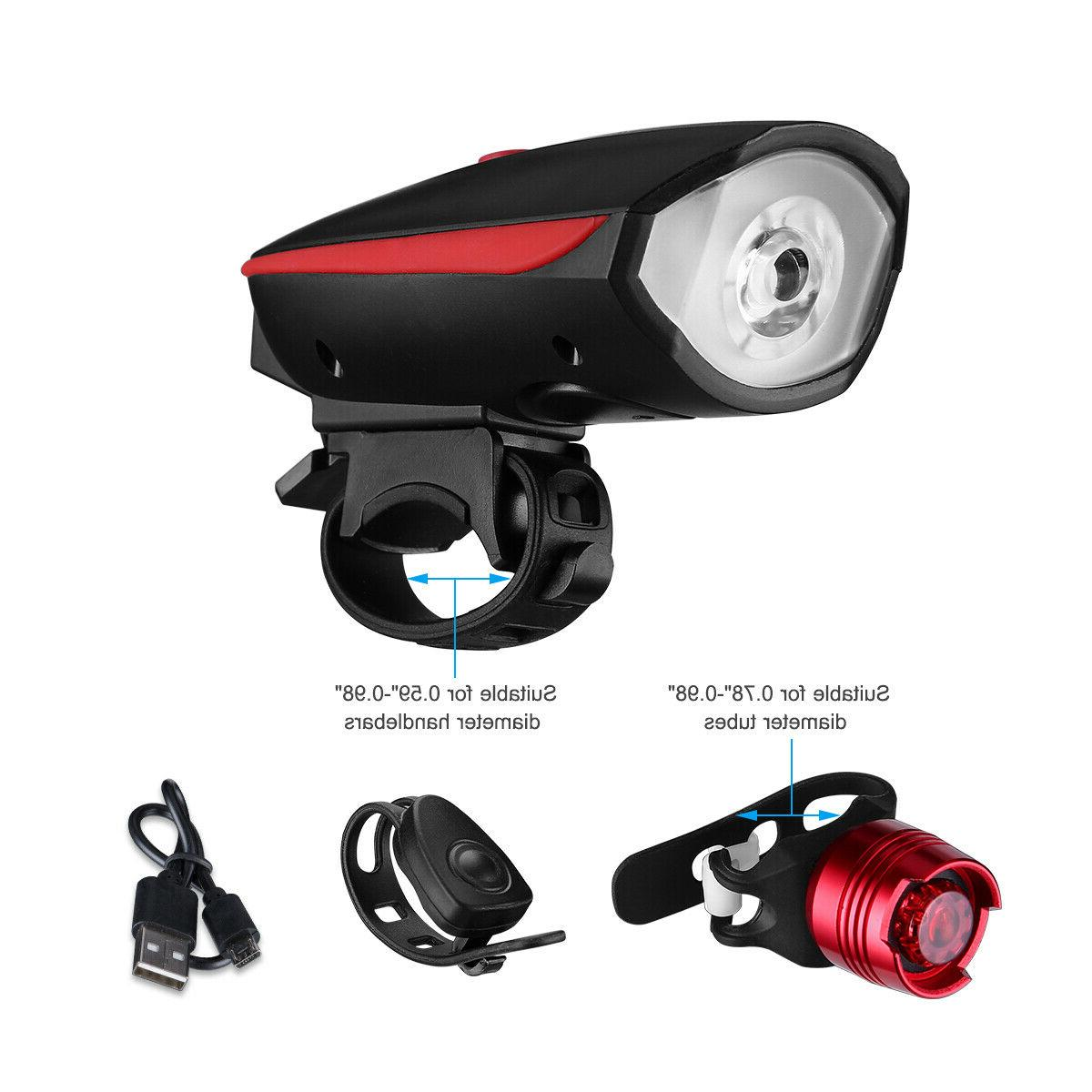 Super Led Bike Bicycle Light Rechargeable Headlight &Taillight Set