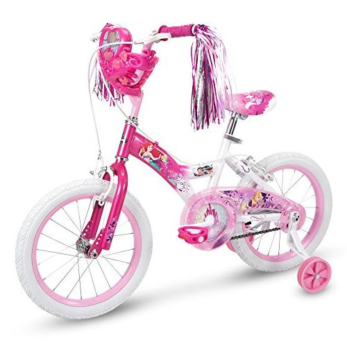 Huffy Disney Princess Girls Bike with Doll Carrier Training