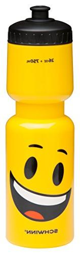 Schwinn Emoticon Water Bottle with Smiley, 26 oz, Yellow